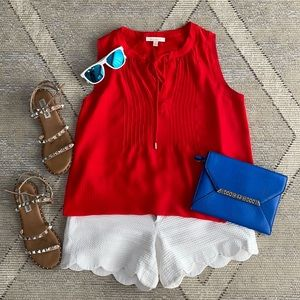🇺🇸Skies Are Blue Red Sleeveless Blouse - XS 🇺🇸